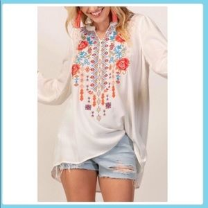 Andree Embroidered Tunic Top, Size Small